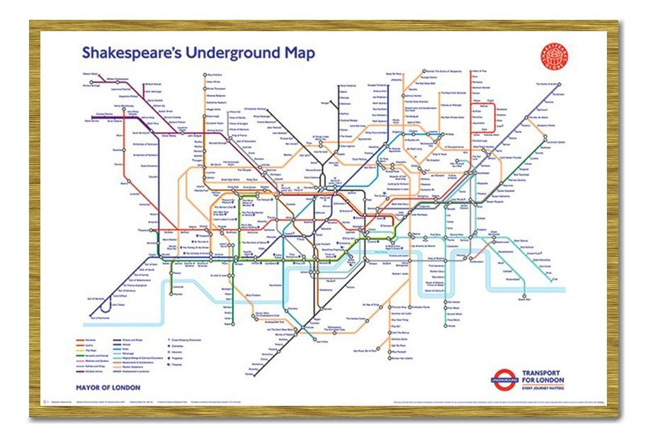 Framed Shakespeare's London Underground Map Poster New | Ebay With Tube Map Wall Art (Image 10 of 20)