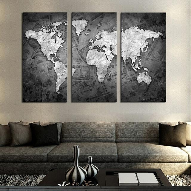 Frameless 3 Pcs Wall Art Classical Grey Color Modern World Map In World Map Wall Artwork (Image 12 of 20)