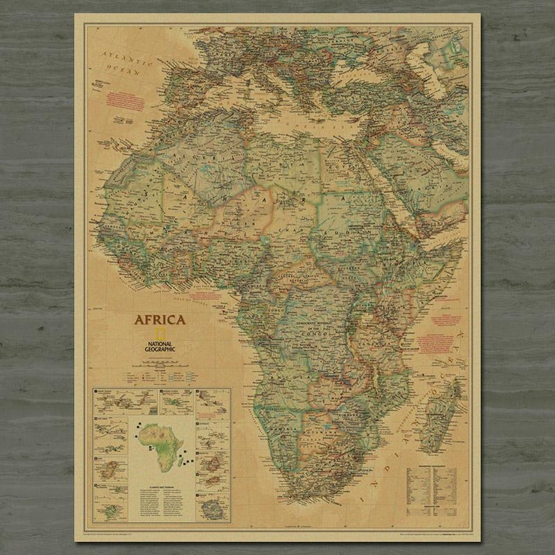 Free Ship Map Of Africa Vintage Kraft Paper Poster Retro Living With Africa Map Wall Art (Image 11 of 20)
