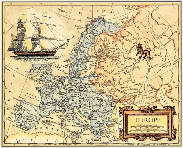 Free Ship Retro Oil Painting Canvas Europe Map Wall Art Picture Regarding Europe Map Wall Art (Image 10 of 20)