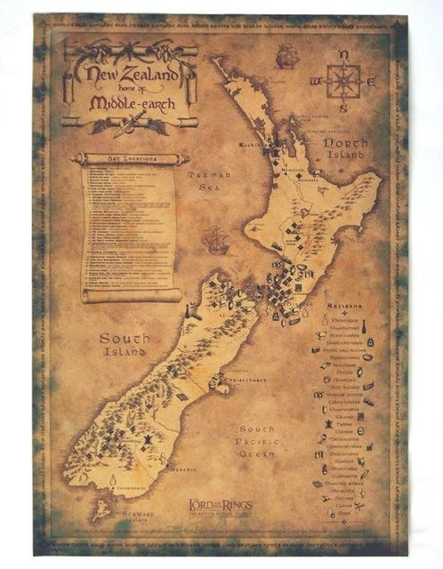 Free Ship Vintage New Zealand Map Retro Movie Poster Wall Art With Regard To New Zealand Map Wall Art (View 11 of 20)