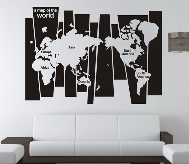 "Free Shipping ""world Map"" English Quote / Saying Vinyl Wall Art With Regard To World Map Wall Art Stickers (Image 6 of 20)"