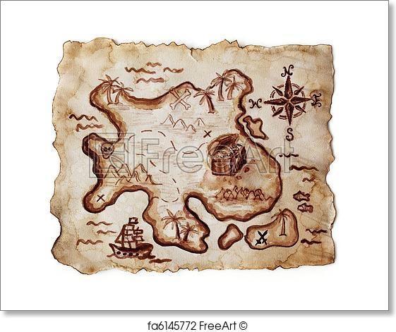 Free Treasure Island Map Art Prints And Wall Art | Freeart In Treasure Map Wall Art (Image 5 of 20)