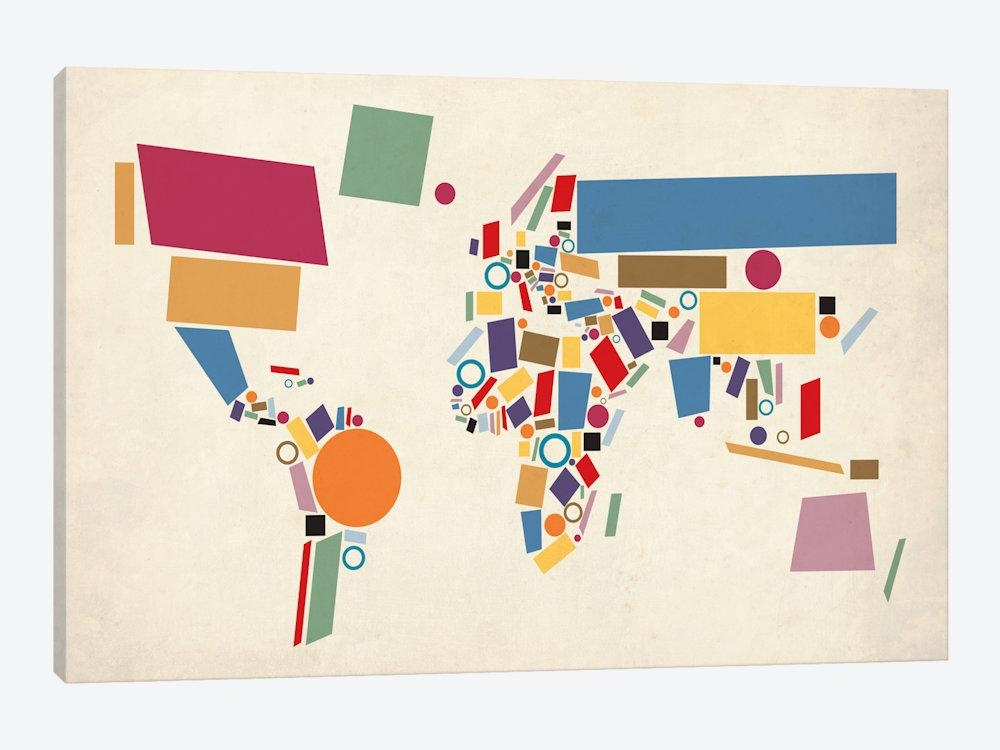 Geometric World Map (Abstract) Canvas Artmichael Tompsett Intended For Abstract World Map Wall Art (Image 6 of 20)