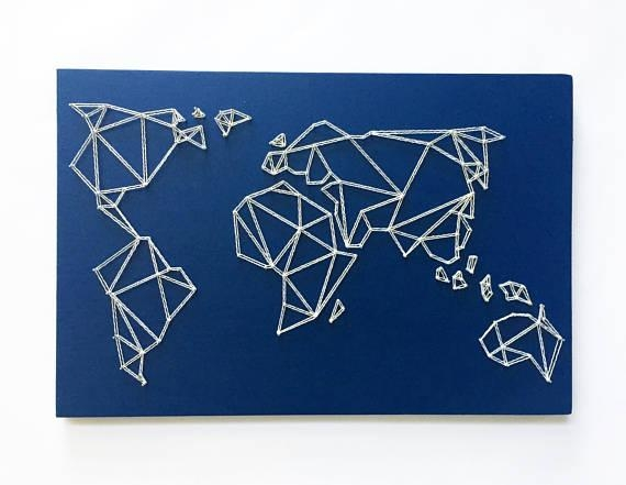 Geometric World Map String Art Map Wall Art Modern Intended For String Map Wall Art (Image 8 of 20)