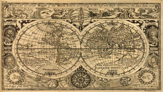 Giant Historic 1628 Old Map Antique Restoration Hardware Style Regarding Old Map Wall Art (Image 7 of 20)