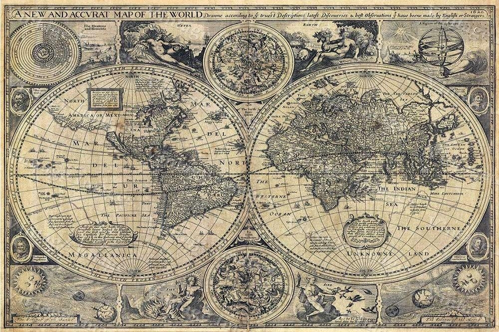 Giant Historic Old World Map 1626 Old Antique Restoration For Old Map Wall Art (Image 8 of 20)