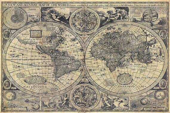 Giant Historic Old World Map 1626 Old Antique Restoration Throughout Vintage World Map Wall Art (Image 5 of 20)