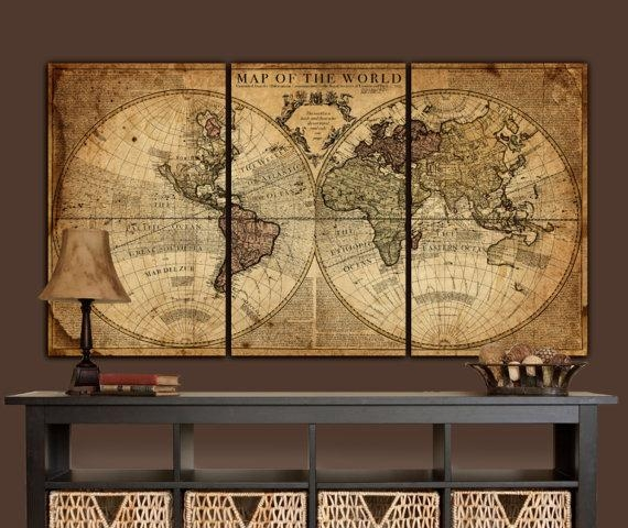Globe Tan Map World Map Canvas Vintage Map Set Large Wall Throughout Vintage World Map Wall Art (Image 6 of 20)