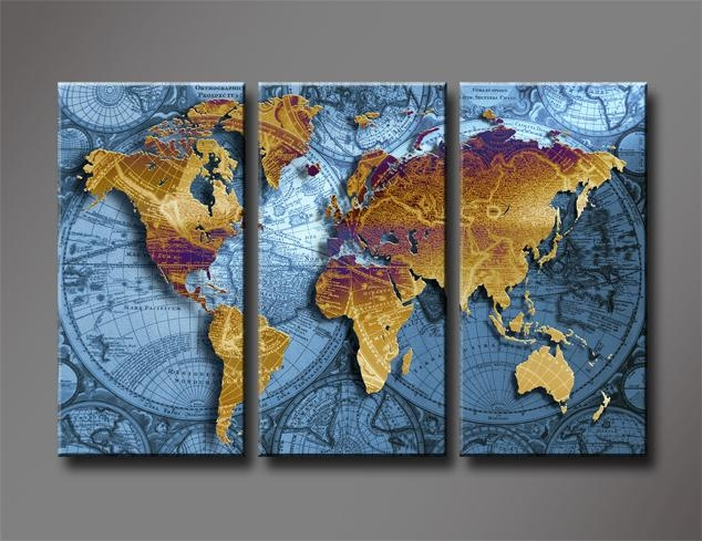 Golden World Map With Blue Sea, Large Hd Canvas Print Painting Regarding World Map Wall Artwork (Image 13 of 20)