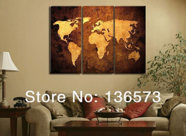 Handmade Oil Painting 3 Piece Canvas Wall Art Brown World Map With Regard To Abstract Map Wall Art (View 16 of 20)