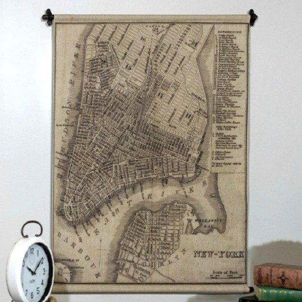 Hanging New York Map Wall Art | Antique Farmhouse Inside Nyc Map Wall Art (Image 7 of 20)