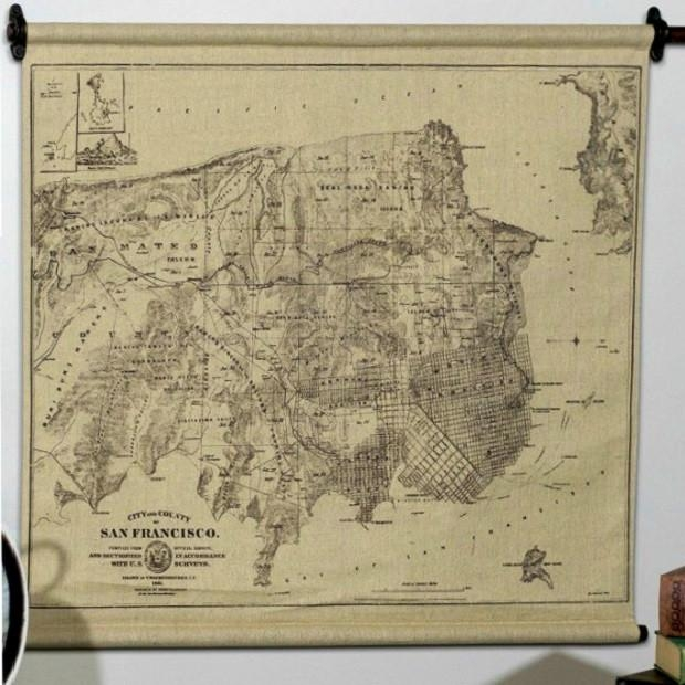 Hanging San Francisco Map Wall Art | Antique Farmhouse For San Francisco Map Wall Art (Image 7 of 20)