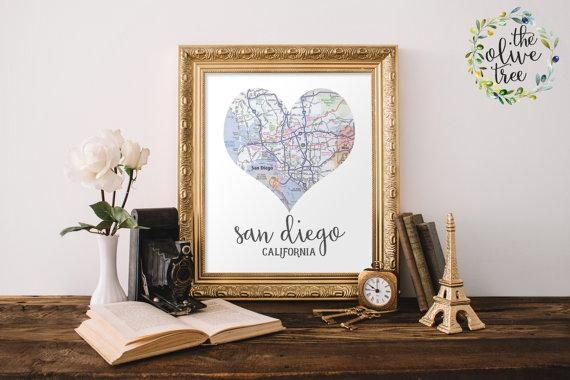 Heart Map Print Printable Map Wall Art Decor Instant For San Diego Map Wall Art (Image 10 of 20)