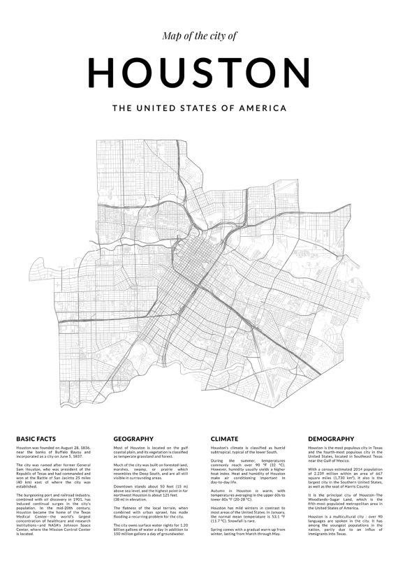 Houston Map Print Map Wall Art Houston Texas Houston Map With Regard To Houston Map Wall Art (Image 14 of 20)