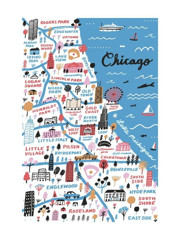 I Love Chicago Wall Art Printsjordan Sondler | Minted For Chicago Map Wall Art (Photo 11 of 20)