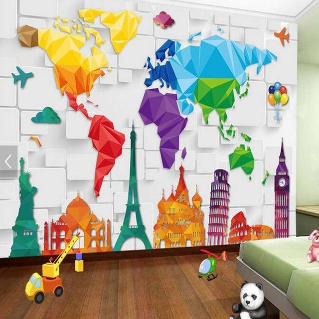 Kids Bedroom Wallpaper Colorful World Map Abstract Wallpapers Wall Pertaining To World Map Wall Art For Kids (View 15 of 20)