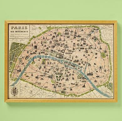 Kids' Posters, Prints & Art: Kids Paris Map Wall Art In All Wall Art – For Paris Map Wall Art (Image 9 of 20)