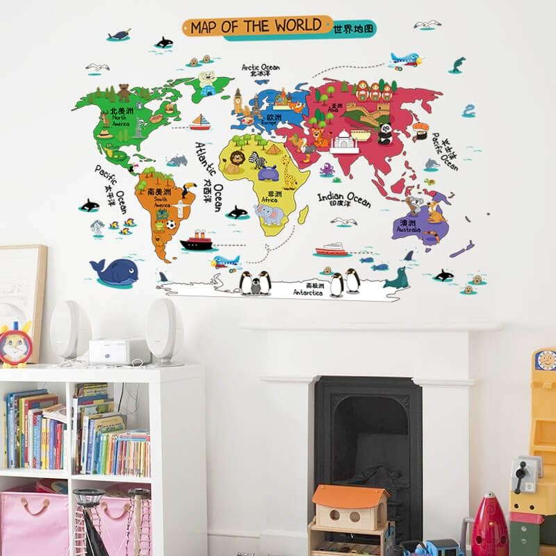 Kids World Map Wall Stickers | Boys Room | Nursery | Wall Decals In Kids World Map Wall Art (Image 13 of 20)
