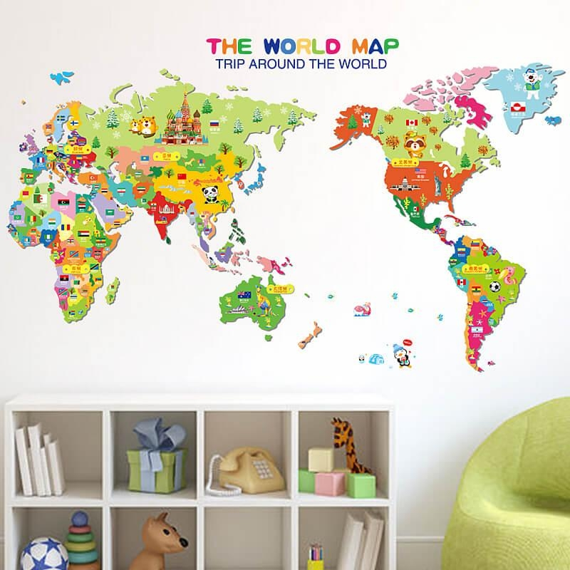 Kids World Map Wall Stickers | Home Decor | Boys Room | Wall Decals Pertaining To World Map Wall Art Stickers (Image 7 of 20)