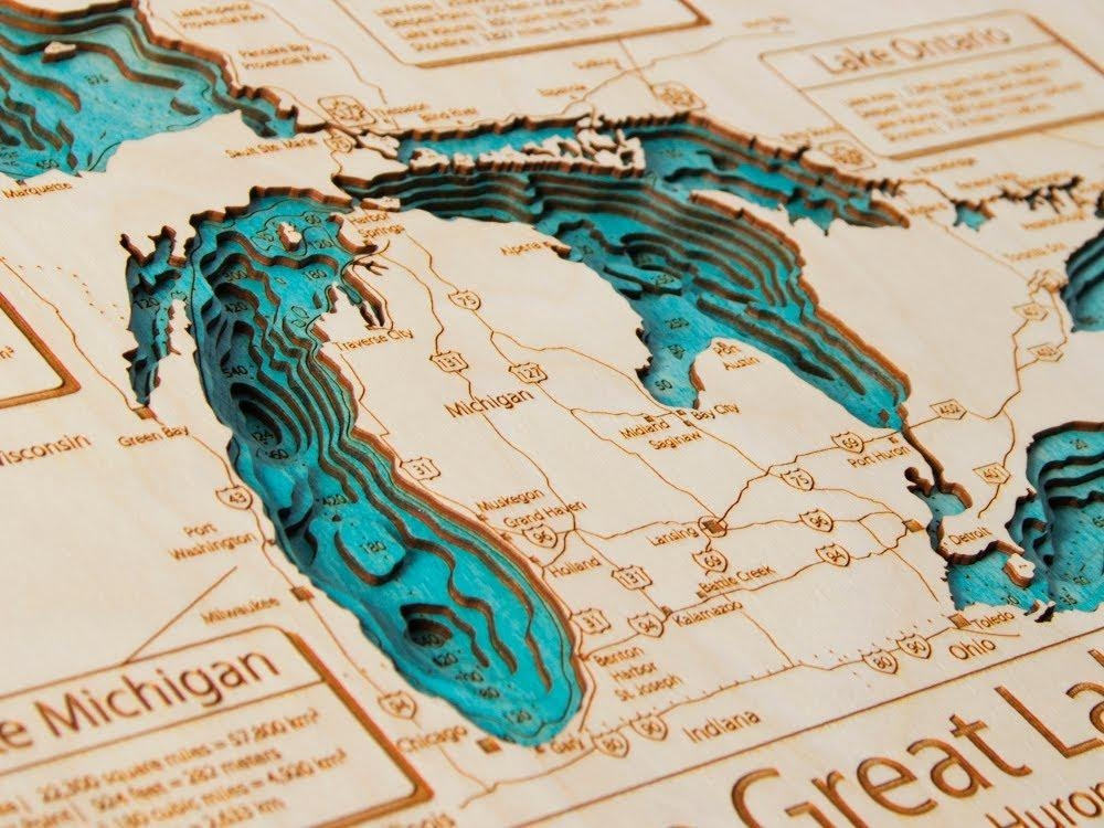 Lake Art – 3D Wooden Maps – Youtube For Map Wall Art Toronto (Image 6 of 20)
