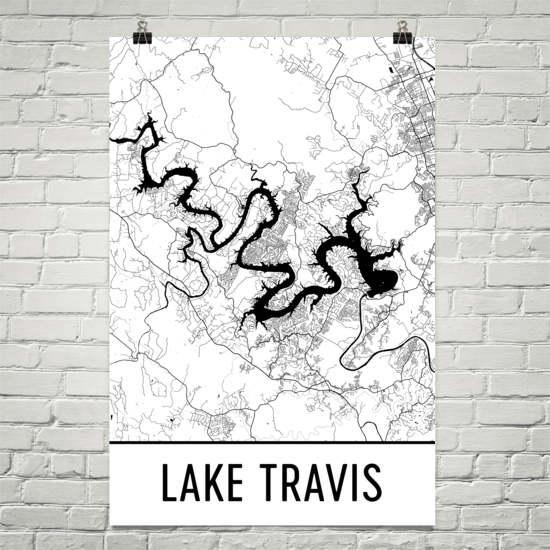 Lake Travis Texas Austin Art Austin Map Lake Travis Tx In Lake Map Wall Art (Image 9 of 20)