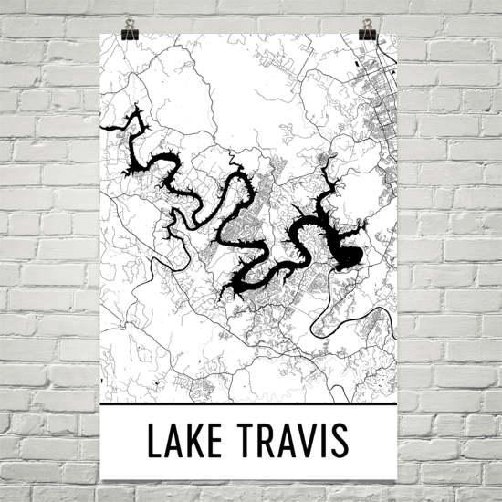 Lake Travis Texas Austin Art Austin Map Lake Travis Tx In Lake Map Wall Art (View 20 of 20)