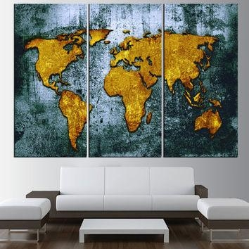 Large Canvas World Map Wall Art Canvas From Artcanvasshop On Etsy Throughout Worldmap Wall Art (Image 7 of 20)