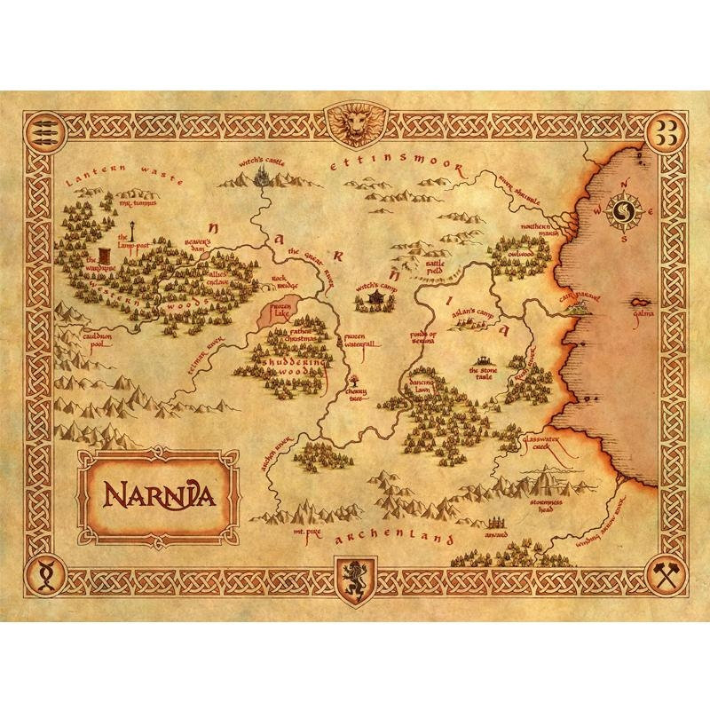 Large Of Vintage Home Decor Narnia Treasure Map Canvas Painting With Regard To Treasure Map Wall Art (Image 6 of 20)