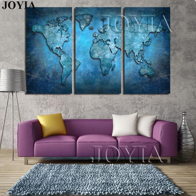 Large Triptych Maps Wall Art World Map Abstract Dark Blue Global Regarding Map Wall Art Prints (Image 14 of 20)