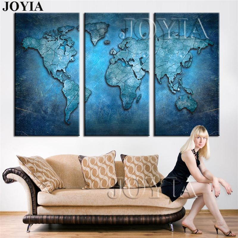 Large Triptych Maps Wall Art World Map Abstract Dark Blue Global With Large Map Wall Art (Image 8 of 20)