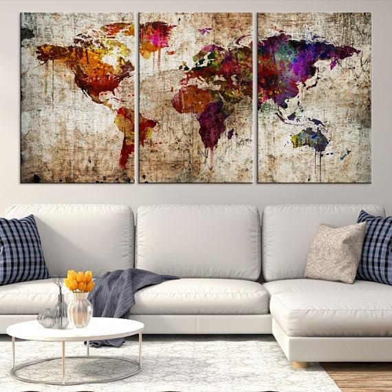 Large Wall Art World Map Canvas Print Extra Large World Map Within Large Map Wall Art (Image 9 of 20)