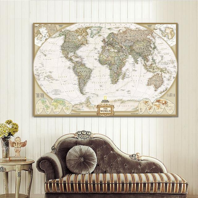 Large Wall Art World Map Painting On Canvas Prints Europe Vintage Throughout Europe Map Wall Art (Image 11 of 20)