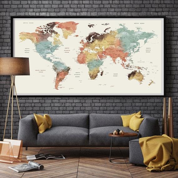 Large Wall Art World Map Push Pin Print / Watercolor World Map Within Large World Map Wall Art (Image 8 of 20)