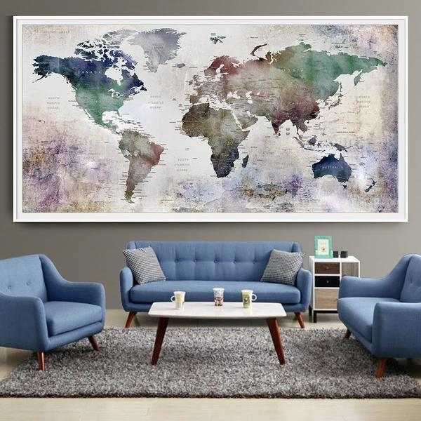 Large Wall Posters 25 Best World Map Wall Ideas On Pinterest Throughout Large World Map Wall Art (Image 9 of 20)