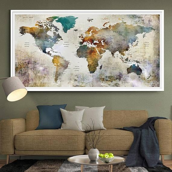 Large Watercolor World Map Print World Map Wall Art Detailed For Large Map Wall Art (Image 11 of 20)