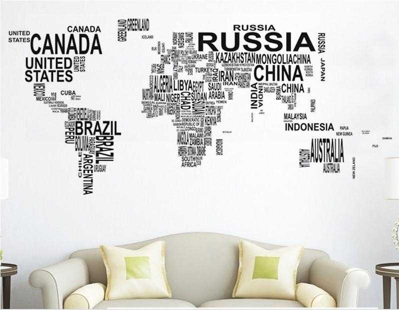 Large World Map In Words Wall Art Sticker Vinyl Graphics Decals Intended For World Map Wall Art Stickers (View 5 of 20)