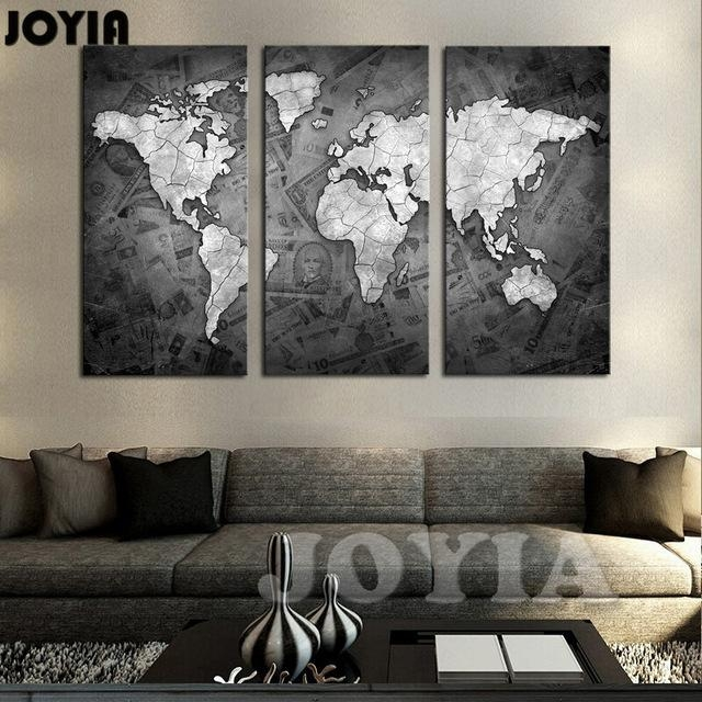Large World Map Wall Art Canvas Black Metalic Modern Paintings Inside Map Wall Art Maps (Image 10 of 20)