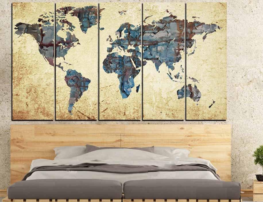 Large World Map,world Map Abstract, Map Wall Art, World Map With Abstract Map Wall Art (View 8 of 20)