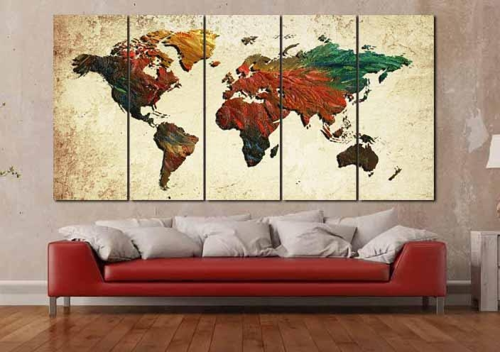 Large World Map,world Map, World Map Painting, Abstract Map Wall In Abstract Map Wall Art (View 11 of 20)
