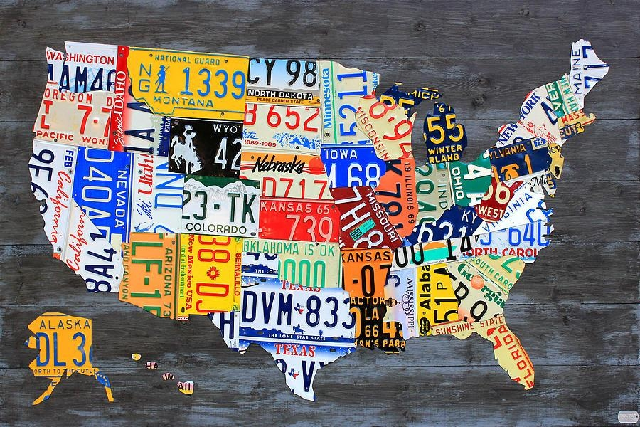 License Plate Map Of The Usa On Gray Reclaimed Wood Vintage Intended For License Plate Map Wall Art (View 5 of 20)