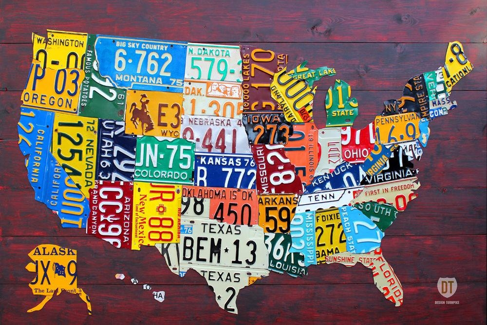 Featured Image of License Plate Map Wall Art