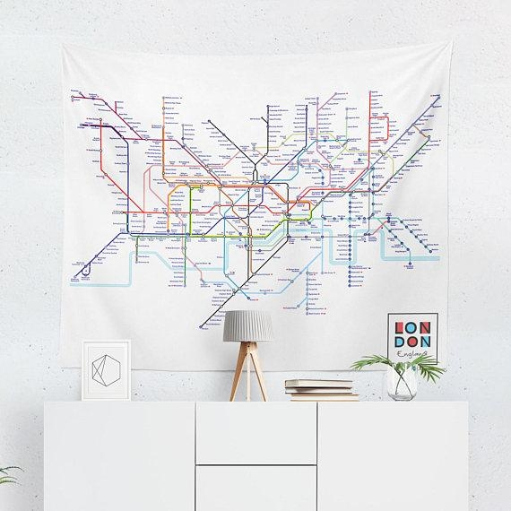 London Tapestry London Tube Map Wall Tapestry London Wall Inside Tube Map Wall Art (Image 13 of 20)