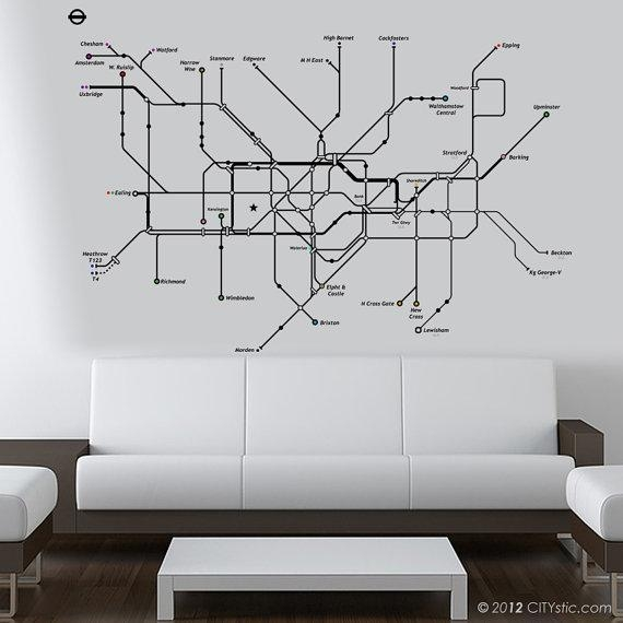 London Wall Decal Huge Underground Tube Map With Color Dots Within Tube Map Wall Art (Image 16 of 20)
