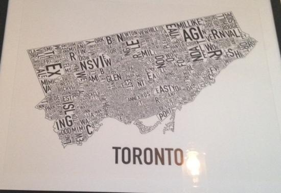 Love The Toronto Word Map On The Wall – Picture Of Dundas & Carlaw Inside Map Wall Art Toronto (Image 7 of 20)