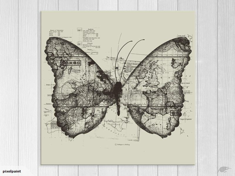 Map – Butterfly Map – Contemporary Art – Wall Art – Art Prints Within Butterfly Map Wall Art (Image 14 of 20)