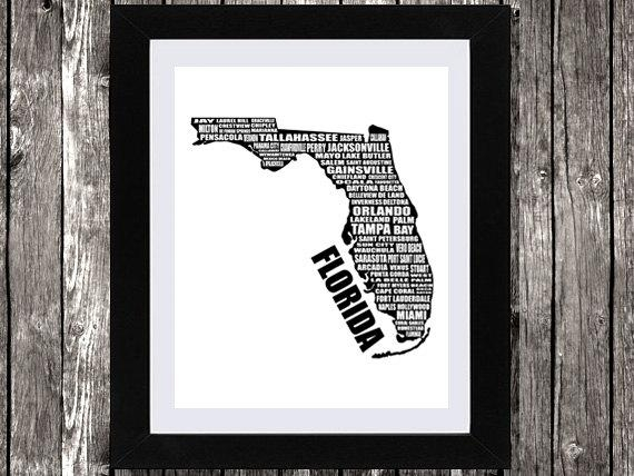 Map Of Florida Typographic Florida Map Florida State Map With Regard To Florida Map Wall Art (Image 13 of 20)