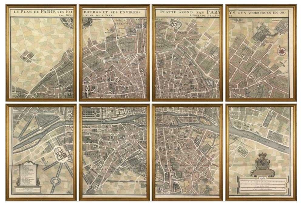 Map Of Paris Wall Art With Gold Frame | Home Interior & Exterior In Paris Map Wall Art (Image 10 of 20)
