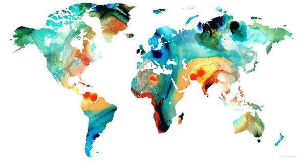 Map Of The World 11  Colorful Abstract Art Postersharon Cummings Pertaining To Abstract World Map Wall Art (Image 9 of 20)