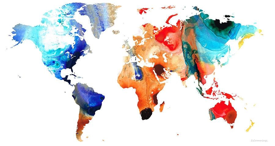 Map Of The World 8  Colorful Abstract Art Paintingsharon Cummings Regarding Abstract World Map Wall Art (Image 10 of 20)